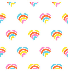 rainbow striped heart seamless pattern rough vector image