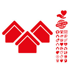 Real estate icon with love bonus vector