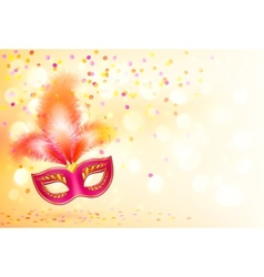 Red carnival mask with feathers on bokeh lights vector image