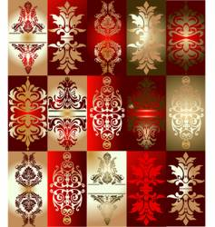 red gold various elements ornament vector image
