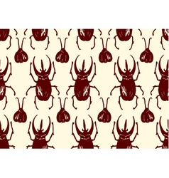 Repeating pattern made of sketched bugs vector