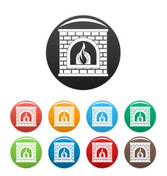 Retro fireplace icons set color vector
