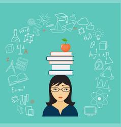 sad girl with books vector image