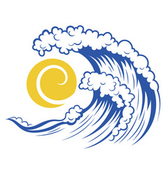 sea wave and sun stylized vector image