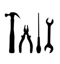 set black silhouettes work tools isolated vector image