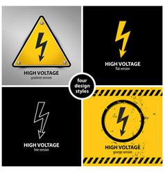 set high voltage warning symbols vector image
