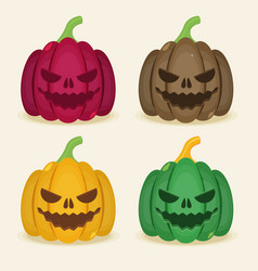 Set of halloween colored pumpkins vector