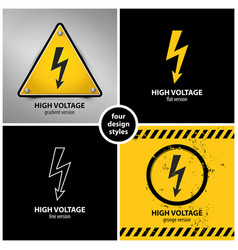 set of high voltage warning symbols vector image