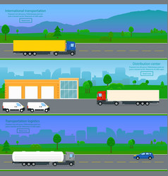 Set of international transportation banners vector