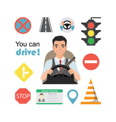 Set of road symbols and asian man driver character vector