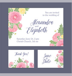 set wedding invitation save date card and vector image