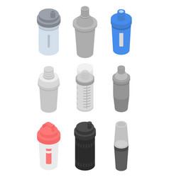 Shaker icons set isometric style vector