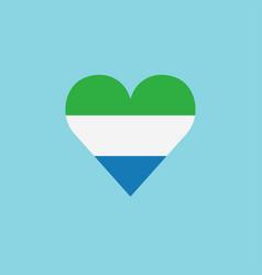 sierra leone flag icon in a heart shape in flat vector image