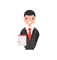 smiling businessman character holding clipboard vector image