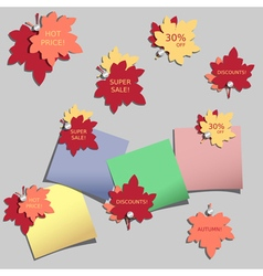 Stickers with autumn leaves vector image