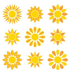 Sun collection icons vector