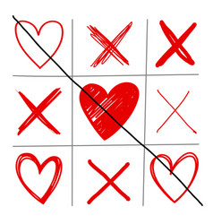 tic-tac-toe game with hearts and crosses vector image