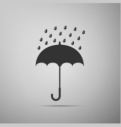 umbrella and rain drops icon on grey background vector image