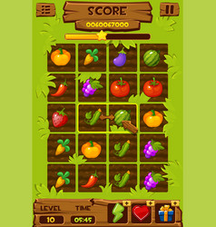 vegetable beds game ui elements 2d game icons vector image