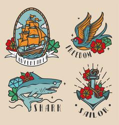 Vintage colorful marine labels vector