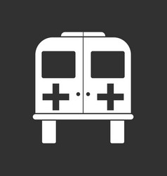 White icon on black background ambulance with a vector