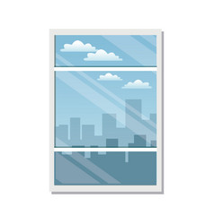 Window city building view skyline clouds vector