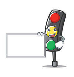 With board traffic light character cartoon vector