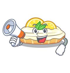 With megaphone cartoon lemon cake with sugar vector
