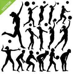 Women beach volleyball silhouettes vector image