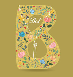 Yellow letter b with floral decor and necklace vector