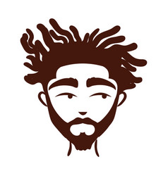 Young afro man ethnicity with beard silhouette vector