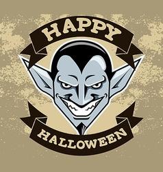 Dracula head halloween badge vector