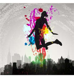 Girl jumping over city vector
