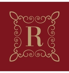 Monogram letter R Calligraphic ornament Gold vector image vector image