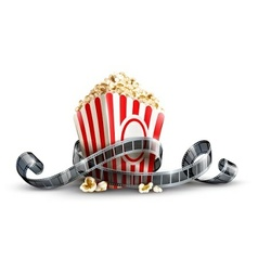 paper bag with popcorn and vector image vector image