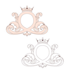 calligraphic baroque ornament with a crown is vector image