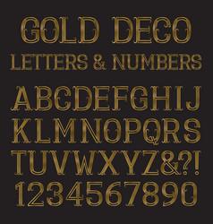 golden font in art deco style vintage alphabet vector image
