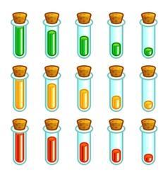 Glass test tubes game progress bar vector image