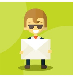 Set of businessman holding letter vector image vector image