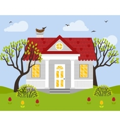 With country house in flat vector