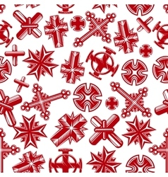 Ancient christian crucifixes red seamless pattern vector image