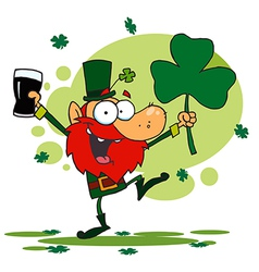 Dancing Leprechaun Holding A Shamrock And Beer vector image vector image