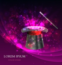 Magician Top hat with fireworks vector image vector image