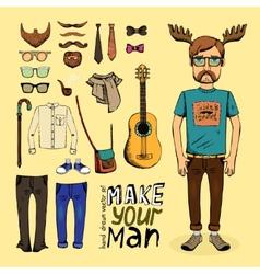 make hipster set vector image