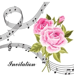 Pink roses with music notes vector image