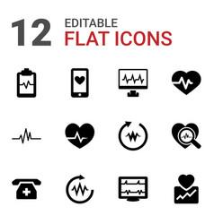 12 cardiogram icons vector