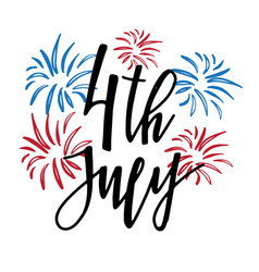 4th of july lettering for independence day c vector
