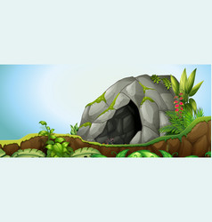 A cave stone in nature background vector