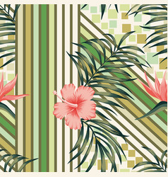 abstract wallpaper tropical leaves and flowers vector image