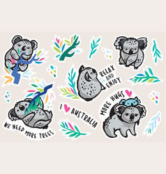 australian koala animal sticker set vector image